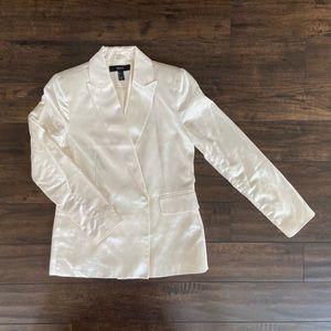 F21 shiny white blazer